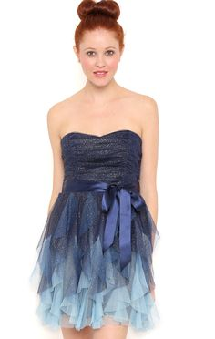 Deb Shops Short Strapless Prom Dress with Ruched Bodice and Ombre Skirt $82.50