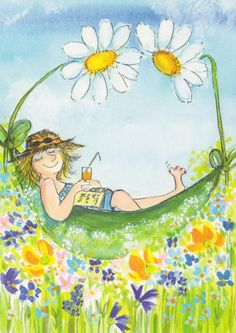Postcard travelled km miles) in 16 days (from Finland to U.): Virpi Pekkala of Finland Art And Illustration, Illustrations, Art Fantaisiste, Art Mignon, Daisy Art, Gourd Art, Whimsical Art, Girl Humor, Cute Art