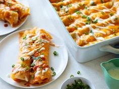 Buffalo Chicken Enchiladas By Food Network Kitchen chicken recipes Buffalo Chicken Enchiladas Turkey Enchiladas, Chicken Enchiladas, Buffalo Chicken Enchilada Recipe, Buffalo Chicken Recipes, Buffalo Chicken Casserole, Enchilada Recipes, Easy Weeknight Meals, Easy Meals, Healthy Dinners