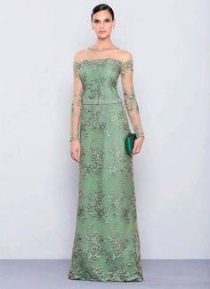 vestido de festa verde com manga