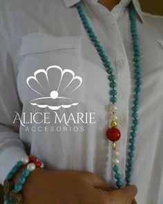 Collar y pulseras en turquesa, perla cultivada y ágata