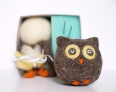 Needle Felting Owl Kit, Detailed Tutorial on How to Make this Adorable Owl, Beginner Neelde Felted, Handmade Christmas Gift. $24.00, via Etsy.