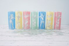 Set of 7 Silhouette Frosted Glasses from the 60's