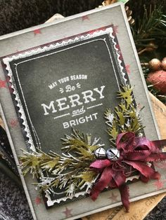 card christmas happy holidays chalkboard, pine branch branched holiday greens, Merry and Bright: A Farmhouse Christmas Homemade Christmas Cards, Stampin Up Christmas, Christmas Tag, Handmade Christmas, Christmas Crafts, Christmas Decorations, Homemade Cards, Christmas Parties, Christmas Vacation