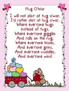 Hug O' war poem and word Wall printables Valentines Day Poems, Valentine Day Crafts, Valentine Ideas, Remembrance Day Poems, Shel Silverstein Poems, Preschool Songs, Emotions Preschool, Kindergarten Poems, Sending Hugs