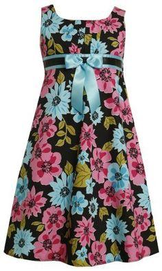Bonnie Jean Girls Plus Black Pink Blue Bold Floral Bow Front Dresss Girls Party Dress, Girls Dresses, Mode Batik, Dress Design Patterns, African Fashion, Kids Fashion, Dress Anak, Bonnie Jean, Girls Jeans