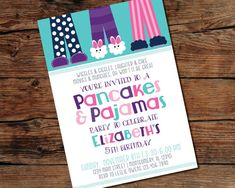PRINTABLE Pancakes and Pajamas Party Invitation - Digital File - Print-at-Home