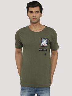 Buy ADAMO LONDON Applique Patch T-Shirt For Men - Men's Green T-shirts Online in India