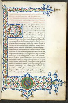 Illuminated initial and border with heraldic arms Medieval Books, Medieval Manuscript, Illuminated Letters, Illuminated Manuscript, Celtic Border, Renaissance Portraits, Illumination Art, Library Catalog, Beautiful Calligraphy