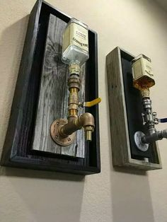 Brass Wall Mount Liquor Dispenser Handmade dispenser With ALL BRASS leadfree fittings, Backing finish out of weathered gray Reclaimed wood with Black Also offered in Black display with White inner All come with multi colored LED lights to match - d Alcohol Dispenser, Whiskey Dispenser, Beverage Dispenser, Soap Dispenser, Diy Casa, Liquor Bottles, Bars For Home, Messing, Home Projects