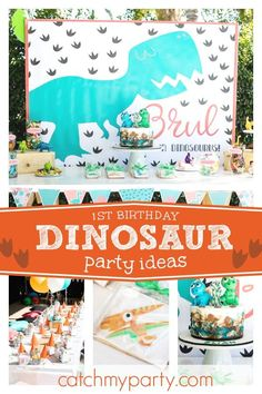 Check out this cool Dinosaur 1st birthday party! The birthday cake is awesome!! See more party ideas and share yours at CatchMyParty.com #catchmyparty #partyideas #dinosaurbirthdayparty #boy1stbirthdayparty