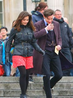 Matt and Jenna on set shooting the Doctor Who 50th Anniversary Special in Trafalgar Square