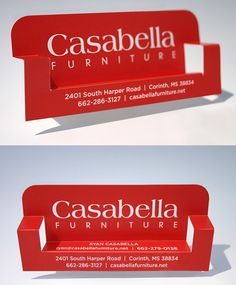 Really creative furniture business cards in the form of bench with red and white color scheme, created for Casabella Furniture.