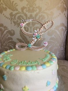 custom monogram birthday cake toppers with by TheCrystalFlower