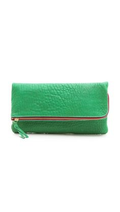 Love this oversize clutch for throwing it all in.  Green seems to go with everything.