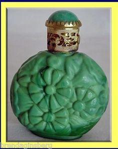 Bohemian Malachite / Jade Glass Miniature Perfume Scent Bottle (2716)