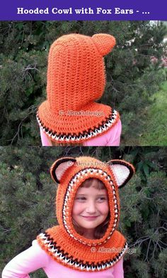 Hooded Cowl with Fox Ears - Crochet Hooded Cowl - Child Fox Cowl - Animals Hat - Winter Neck Warmer Handmade. This seamless Hooded Cowl will keep your child warm on those really cold days! Also the crocheted ears and colored trim gives this Cowl a contrasting, attractive look. This Hooded Cowl is my own original design. It is 100% acrylic for both warmth and softness, and the back of the Hood is round. ****** This Hat can be custom made in additional sizes: ** Toddler - (approx. 12 - 24...