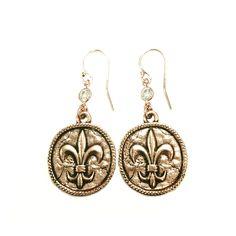 Gold Fleur-de-Lis coin earrings