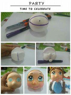 Eu Amo Artesanato: Como fazer Cabeça e Olhos da Boneca Fofucha passo a passo Foam Crafts, Paper Crafts, Handmade Crafts, Diy And Crafts, Foam Carving, Doll Face Paint, Quilling Craft, Foam Sheets, Polymer Clay Crafts