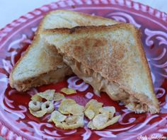 Grilled Peanut Butter and Honey Bunches of Oats Crunch O's Sandwich
