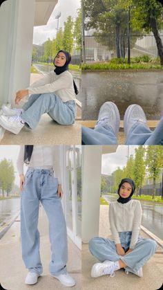 Korean Casual Outfits, Casual Hijab Outfit, Ootd Hijab, Korean Girl Fashion, Muslim Fashion, Hijab Fashion, Fashion Outfits, Simple Hijab, Aesthetic Clothes