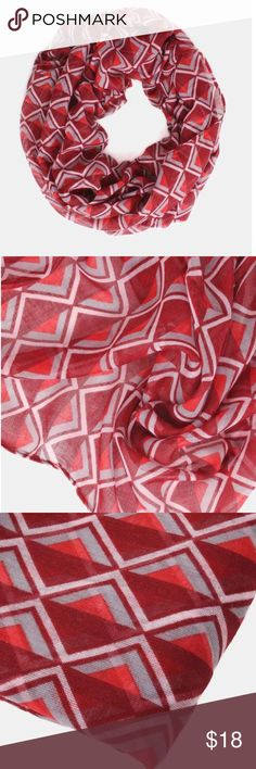 Submit Offer 💕Red Triangle Print Infinity Scarf💕 Add a fun pop of color and patterns to your casual look with this soft lightweight infinity scarf with modern triangle pattern. A perfect finishing touch to your outfit that is easy to thrown on before heading out the door! 100% Polyester 💕NWOT Boutique Accessories Scarves & Wraps