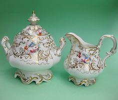 Royal Antique Fine Tea China Cream Sugar Bowl Set - Victorian Rococo Dresden Wedding Sucrier Milk