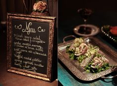 The chalkboard menu I made & yummy food by Schaal's Catering! www.splendidweddingco.com