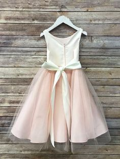 Tulle overlay Flower Girl Dress with Pin on Silk Flowers image 3 Blush Flower Girl Dresses, Tulle Flower Girl, Blush Dresses, Little Girl Dresses, Girls Dresses, Flower Girls, Baby Flower, Dress Girl, White Baby Dress