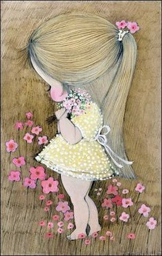 This is probably my favourite Sue Adams illustration from the Daisy Lane series. Adorable Petite Fille, Vintage Illustration, Vintage Greeting Cards, Illustrations, Cute Cartoon, Cute Drawings, Cute Art, Art Girl, Cute Pictures