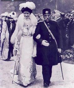 Iranian king Mozaffaredin Shah Qajar walks hand-in-hand with Italian Queen Elena on a 1902 European trip. What a find! via @Ajam Media Collective https://twitter.com/AjamMC