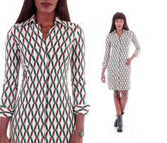 This beautiful and unique genuine Diane Von Furstenberg shirtdress is slenderizing and chic with an abstract vertical linear print in green, black,