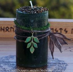 I could probably make something like this... ENCHANTED FOREST Pillar Candle w/ Oakmoss by ArtisanWitchcrafts, $17.95
