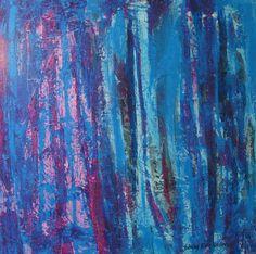 Maleri Blå skog 80x80 cm