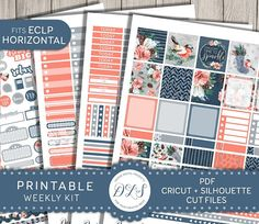 This printable weekly planner stickers kit is created for Erin Condren Life Planner HORIZONTAL.  Dimension of full boxes: 1.63 x 1.5 inches.  This is digital product (no physical stickers will be sent) and is for personal use only.  Design Lovely Studio offers high quality