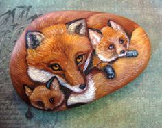 FOXES- Hand Painted Rocks,  Fox Family of Three,  by Shelli Bowler
