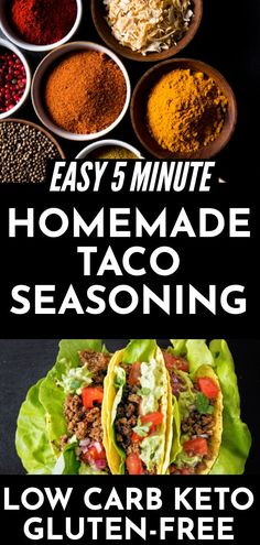 Easy Homemade Taco Seasoning Recipe   A simple recipe for homemade taco seasoning that's keto, low carb, sugar free, & gluten free! Make taco night healthy with this budget-friendly 5 mintute keto-friendly taco seasoning! #tacoseasoning #keto #glutenfree #lowcarb