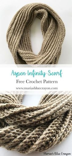 Crochet Infinity Scarf | Free Crochet Pattern | Texture Infinity Scarf | Worsted weight yarn | Basic & Easy Crochet Scarf Pattern | Maria's Blue Crayon