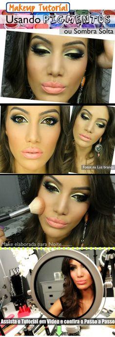 Maquiagem usando pigmentos