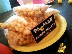 Liam's Pac-Man Party | CatchMyParty.com. cereal instead of candy for pac man pellets. LOVE