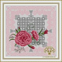 The tenth of 12 designs in the Azulejos Series: Carnations. It's a floral design with Blackwork and Petite stitch. Available as PDF file/Paper Chart.
