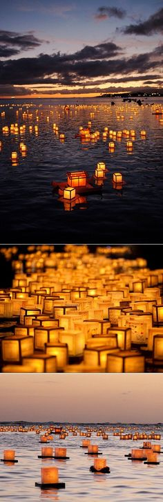Every year during late May thousands of people gather on the Ala Moana Beach in Hawaii to attend the annual Lantern Floating ceremony. Each lit lantern carries a message from the heart and it honours the loved ones that passed on. Last May over 40 000 of them were released to the ocean withthe glorious sunset in the distance.