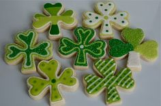 Shamrock cookies for St. Patrick's Day.