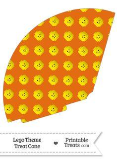 Orange Lego Theme Treat Cone--- https://www.pinterest.com/printabletreats/lego-theme-printables/