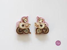 soutache earrings, stud post earrings, handmade in Italy, crystal earrings, soutache jewelry  https://www.etsy.com/it/shop/Rejesoutache?ref=hdr_shop_menu FACEBOOK: https://www.facebook.com/rejegioielliinsoutache/