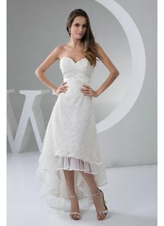 Trendy Design High Low Sweetheart Lace Wedding Dresses 2013