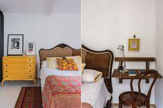 La transformación de un depto en el Microcentro  La cama fue restaurada por la diseñadora Gloria Bieule, y los almohadones coloridos también son obra suya. De un viaje a Sucre, Bolivia, vino la alfombra, y de India el pie de cama. Sobre la cómoda amarilla, copón de acrílico ($40) con flores.  /Daniel Karp