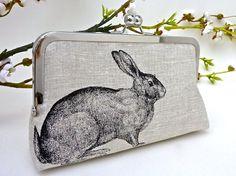 Linen Enchanted Rabbit Clutch in Black by JCarterHandmade on Etsy