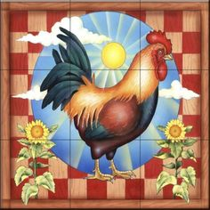 RS - Morning Glory Rooster II - Tile Mural