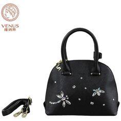 Venus Women Shell Handbags Black Synthetic frosted Leather with Dragonfly Diamonds Tote Single-Shoulder Bag Bolsas Femininas